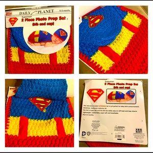 💥 SUPERMAN BABY ✨ Boy Bib & Cap 2pc Crochet Set